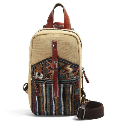 National Style Canvas Men Chest Bags Vintage Chest Pack Crossbody Sling Messenger Bags For Men M1007