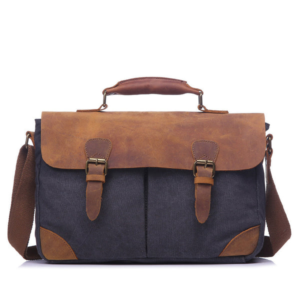 Crazy Horse Leather With Canvas Shoulder Bag Men Retro Messenger Bag Men Canvas Satchel YD2000 - ROCKCOWLEATHERSTUDIO