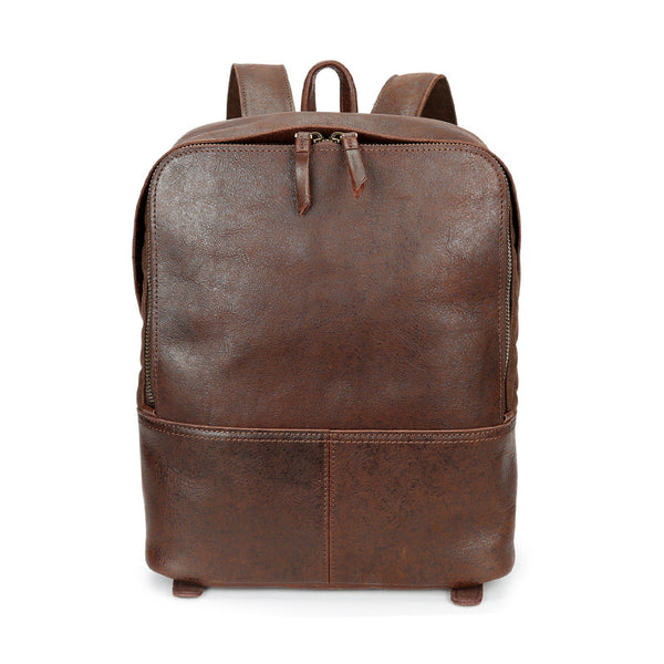 Retro Travel Backpack Full Grain Leather School Backpack Daily Casual Backpack YD8173 - ROCKCOWLEATHERSTUDIO