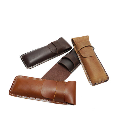 Full Grain Leather Pen Holder Retro Pen Case Handmade Gifts Pen Holder YD1013 - ROCKCOWLEATHERSTUDIO