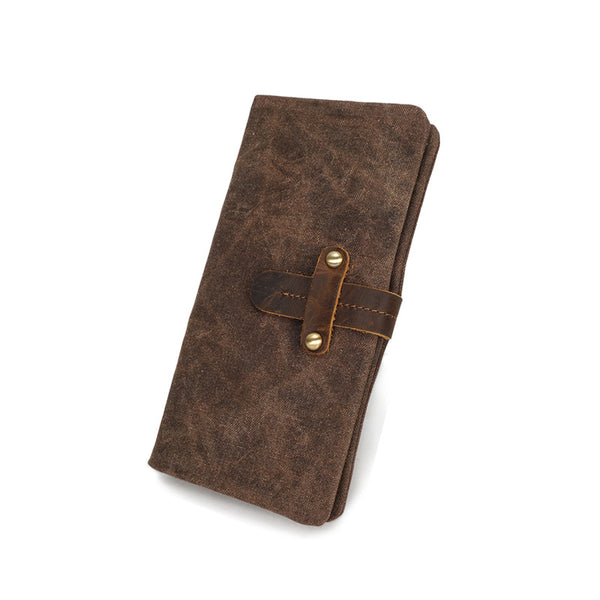 Vintage Canvas Long Wallet Waterproof Canvas Men Clutch Multifunctional Canvas Long Purse YD3001