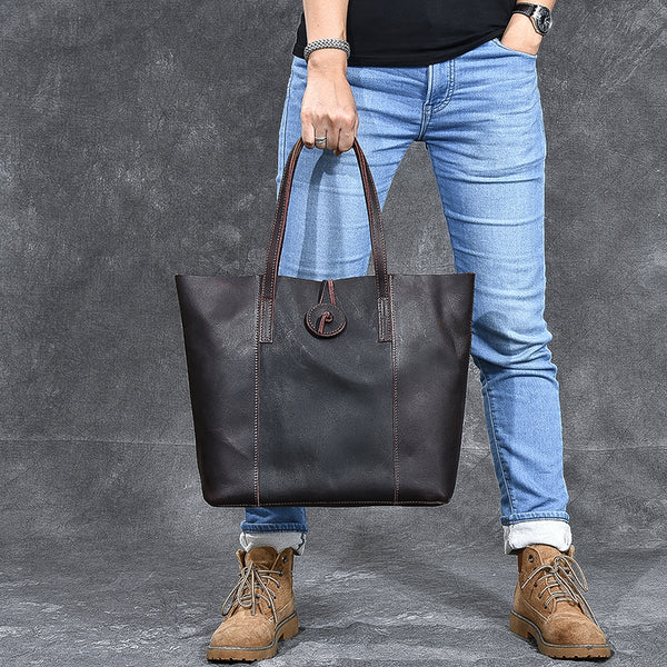 Unisex Crazy Horse Leather Tote Bag Large Capacity Handbag Retro Shoulder Bag ESS358
