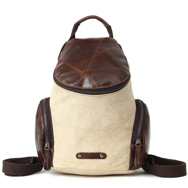 Latest Fashion Waxed Canvas Leather Backpack, Fashion Waterproof Shoulder School Bag 1017 - ROCKCOWLEATHERSTUDIO