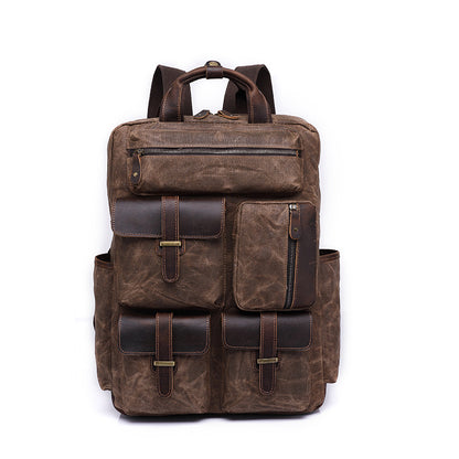 Waxed Canvas Leather Backpack, Big Capacity Laptop Backpack, Vintage Waterproof Shoulder School Bag 5351