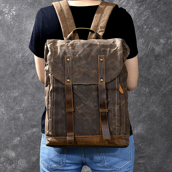 Waxed Canvas Men Backpack Waterproof Canvas Backpack Laptop Backpack ESS1882 - ROCKCOWLEATHERSTUDIO