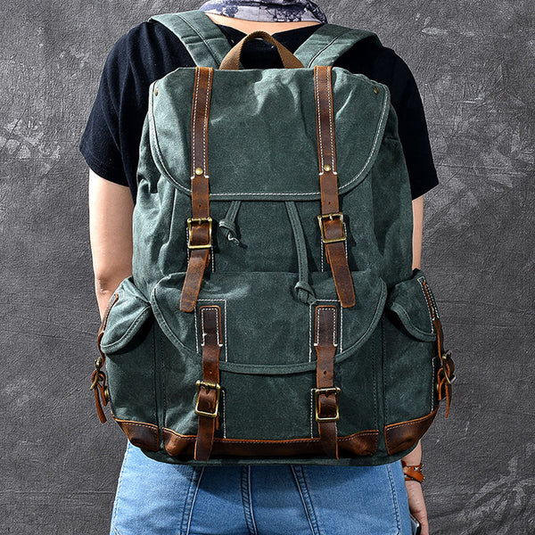 Waxed Canvas With Leather Backpack Vintage Large Capacity Backpack Travel Backpack ESS228
