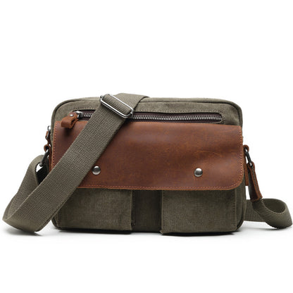 Leather Cover Canvas Messenger Bag Casual Crossbody Shoulder Bag For Men K2028