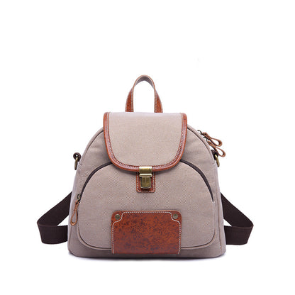 Latest Fashion Women Canvas Leather Backpack Vintage Waterproof Shoulder Bag 3166