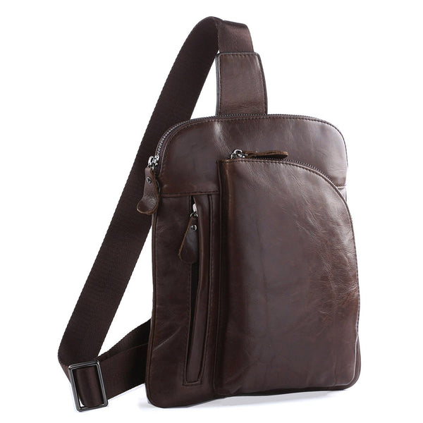 Genuine Leather Men Chest Bags Leisure Chest Pack Men Crossbody Sling Messenger Bags 7194 - ROCKCOWLEATHERSTUDIO