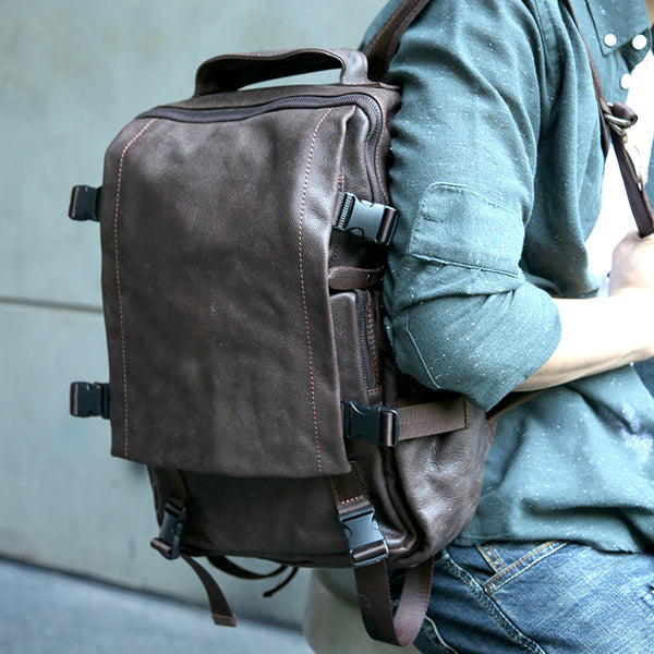 Retro Men Laptop Full Grain Leather Travel Backpack Retro Casual Backpack Z2006