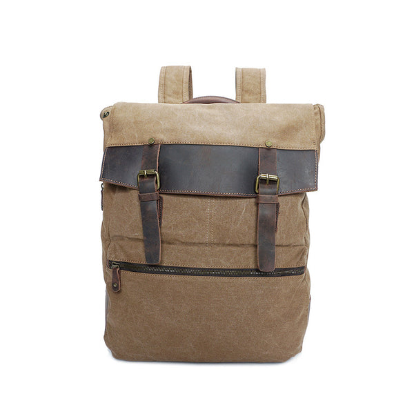 Retro Men Canvas Backpack Canvas With Leather Men Laptop Backpack Large Capacity School Bag YD2198 - ROCKCOWLEATHERSTUDIO