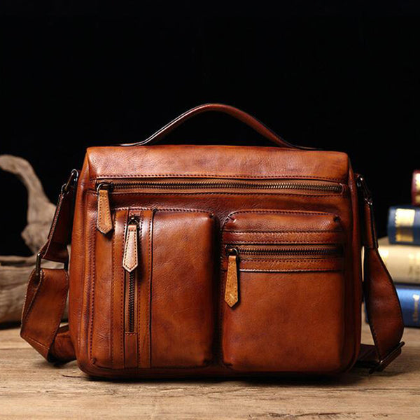 Men Retro Shoulder Bag Full Grain Leather Messenger Bag Men iPad Bag V171212 - ROCKCOWLEATHERSTUDIO
