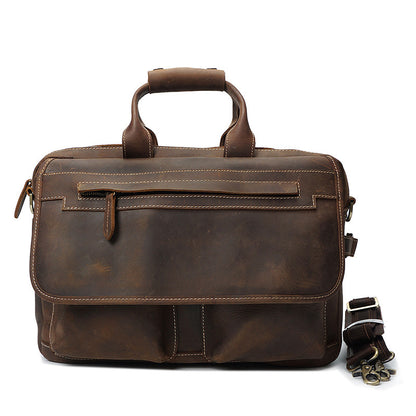 Crazy Horse Leather Casual Briefcase Retro Men Messenger Bag Laptop Bag YD8032 - ROCKCOWLEATHERSTUDIO