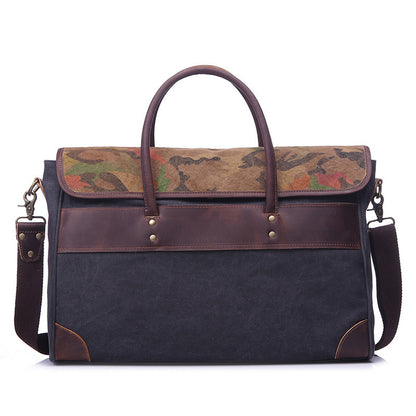Canvas Men Tote Briefcase Leather With Canvas Shoulder Crossbody Bag Retro Canvas Messenger Bag YD1991 - ROCKCOWLEATHERSTUDIO