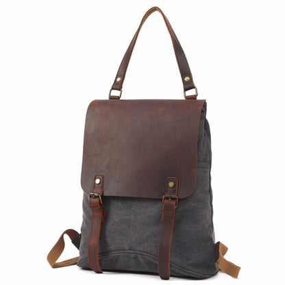 Waxed Canvas Leather Backpack, Big Capacity Laptop Backpack, Vintage Waterproof Shoulder School Bag 8830