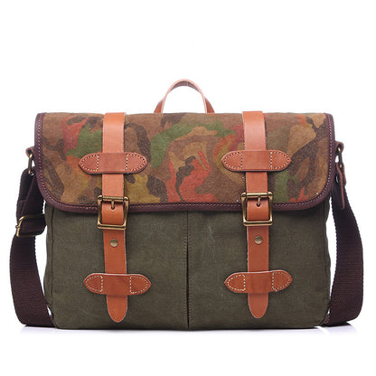Top Grain Leather With Canvas Men Shoulder Bag Men Vintage Canvas Messenger Bag Large Capacity Laptop Bag YD1995