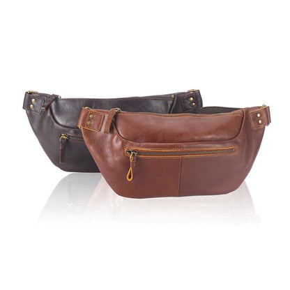 Retro Men Messenger Bag Full Grain Leather Men Shoulder Bag Men Chest Pack YD8125