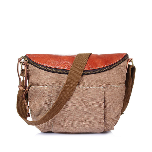 Leather With Canvas Men Messenger Bag Retro Canvas College style Crossbody Bag Large Capacity Canvas Shoulder Bag YD2113 - ROCKCOWLEATHERSTUDIO