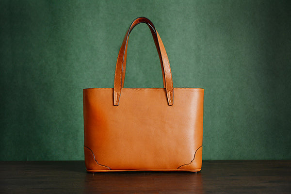 Custom Handmade Italian Vegetable Tanned Leather Tote Bag, Leather Shoulder Bag, Shopper Bag D011 - ROCKCOWLEATHERSTUDIO