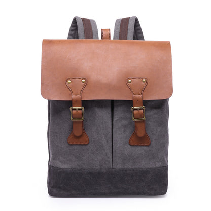 New Style Waxed Canvas Leather Backpack, Big Capacity Laptop Backpack, Vintage Waterproof Shoulder School Bag 5518