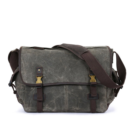Waxed Canvas Crazy Horse Leather Messenger Bag Crossbody Shoulder Bag Laptop Bag 5355
