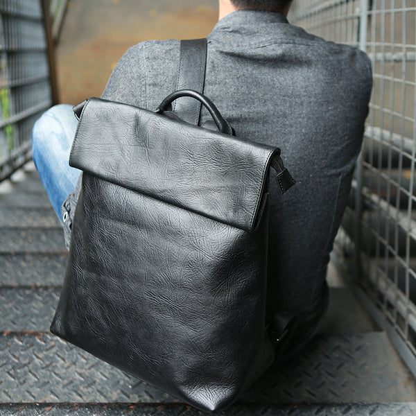 Full Grain Leather Men Backpack Laptop Backpack Casual Backpack Z5027 - ROCKCOWLEATHERSTUDIO