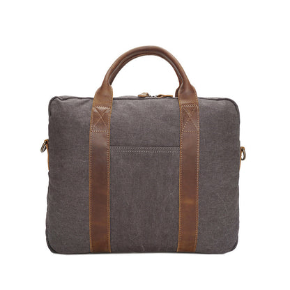 Men Canvas Business Tote Bag Vintage Canvas Laptop Messenger Bag Leather With Canvas Briefcase YD3173