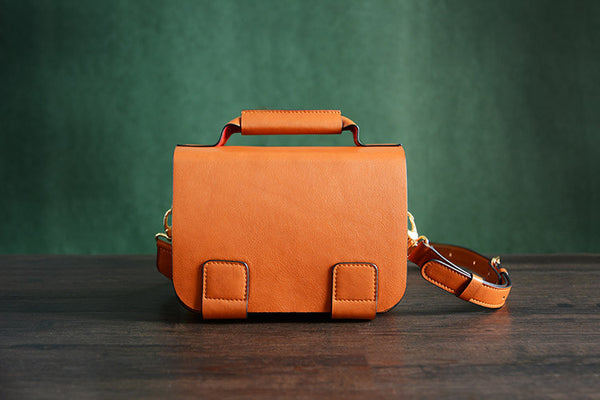 Italian Vegetable Tanned Leather Messenger Bag, Crossbody Shoulder Bag, Satchel Bag D002 - ROCKCOWLEATHERSTUDIO