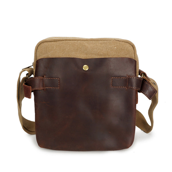 Men Leather With Canvas Messenger Bag Vintage Crossbody Shoulder Bag For Men Casual Satchel Bag YD1881 - ROCKCOWLEATHERSTUDIO