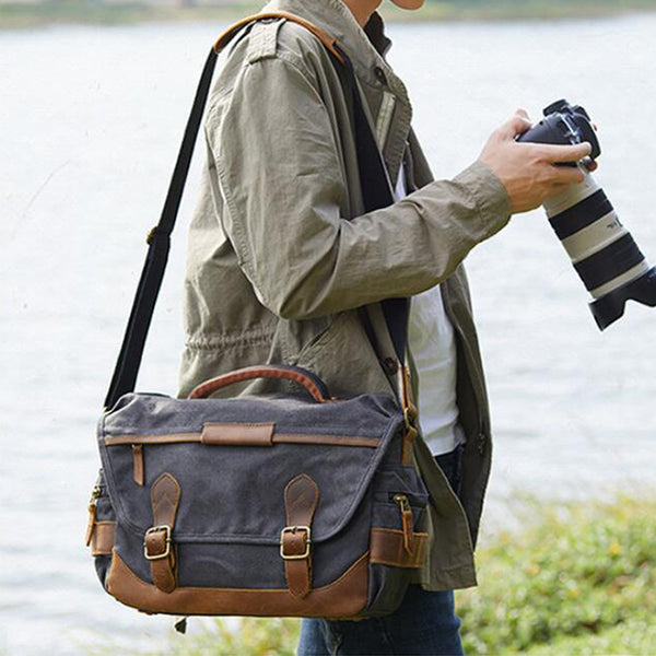 Leather With Canvas Camera Bag Waterproof DSLR Camera Bag Shoulder Messenger Bag QSM3035