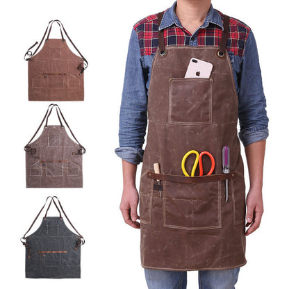 Waxed Canvas Apron Waterproof Long Apron Retro Tools Apron YD5893