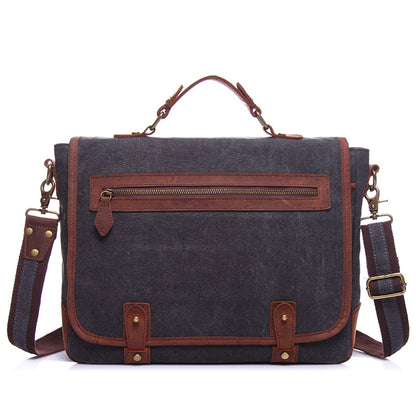 Waxed Canvas Crazy Horse Leather Messenger Bag Crossbody Shoulder Bag Laptop Bag 1915