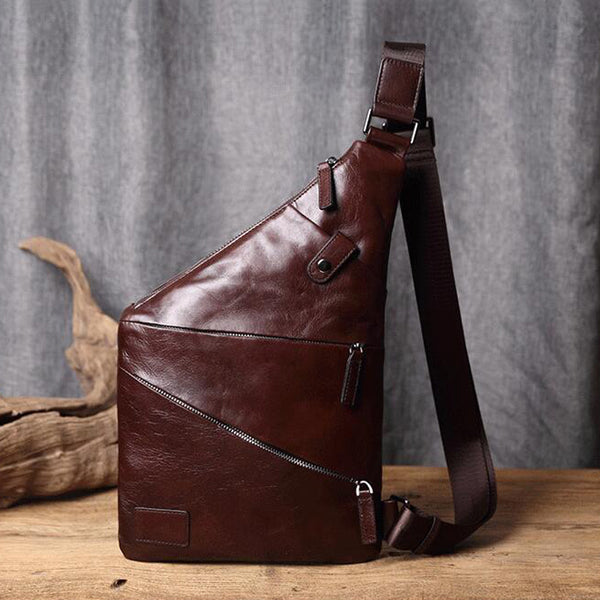 Men Casual Messenger Bag Full Grain Leather Chest Bag Chest Pack V171177 - ROCKCOWLEATHERSTUDIO
