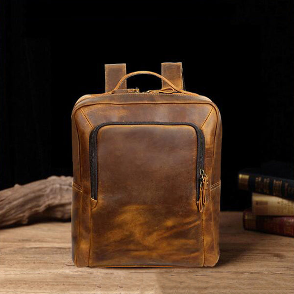 Men Crazy Horse Leather Backpack Men Retro Backpack Men Laptop Backpack YD8250 - ROCKCOWLEATHERSTUDIO