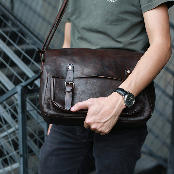 Handmade Men Messenger Bag Full Grain Leather Shoulder Bag Crossbody Bag ZB65