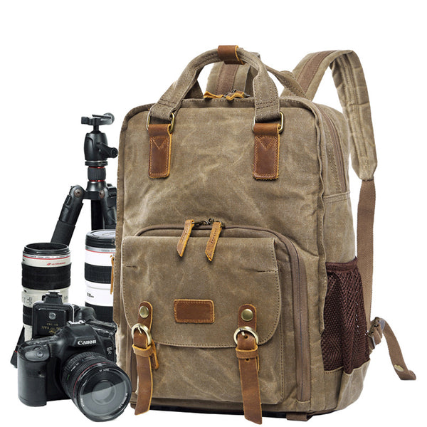 Camera Backpack Waxed Canvas DSLR Camera Backpack Waterproof Travel Backpack QSM272 - ROCKCOWLEATHERSTUDIO