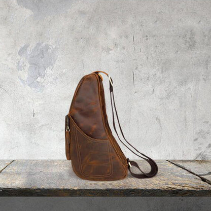 Retro Men Messenger Bag Full Grain Leather Chest Pack Large Capacity Sling Bag YD8059