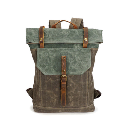 Men Canvas Leather Backpack, Big Capacity Laptop Backpack, Vintage Waterproof Shoulder Travel Bag 5191-1
