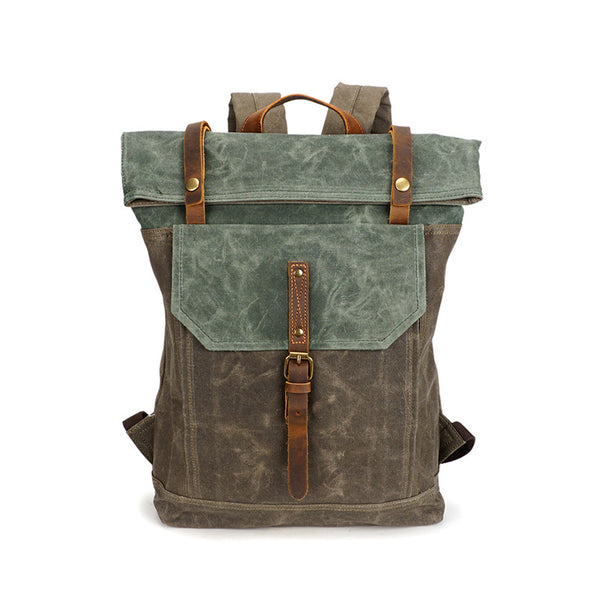 Men Canvas Leather Backpack, Big Capacity Laptop Backpack, Vintage Waterproof Shoulder Travel Bag 5191-1 - ROCKCOWLEATHERSTUDIO