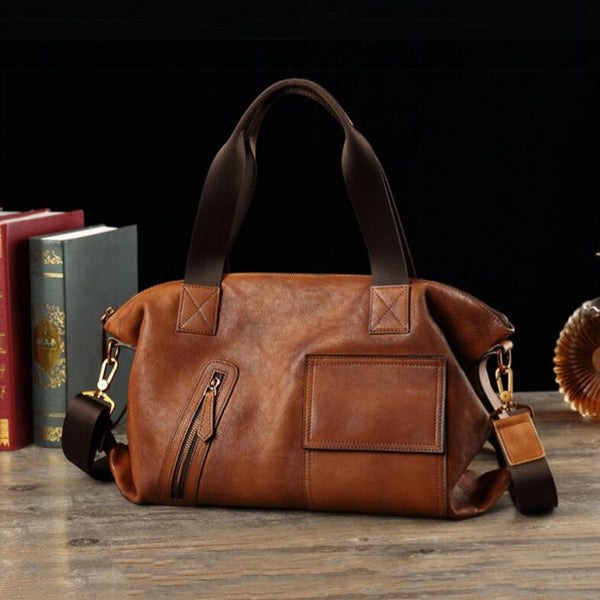 Full Grain Leather Men Tote Bag Retro Messenger Bag Casual Shoulder Bag V170828 - ROCKCOWLEATHERSTUDIO