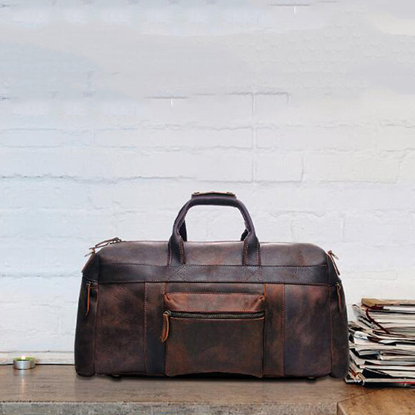 Large Capacity Tote Travel Bag Men Full Grain Leather Duffel Bag Retro Weekend Bag YD8030 - ROCKCOWLEATHERSTUDIO