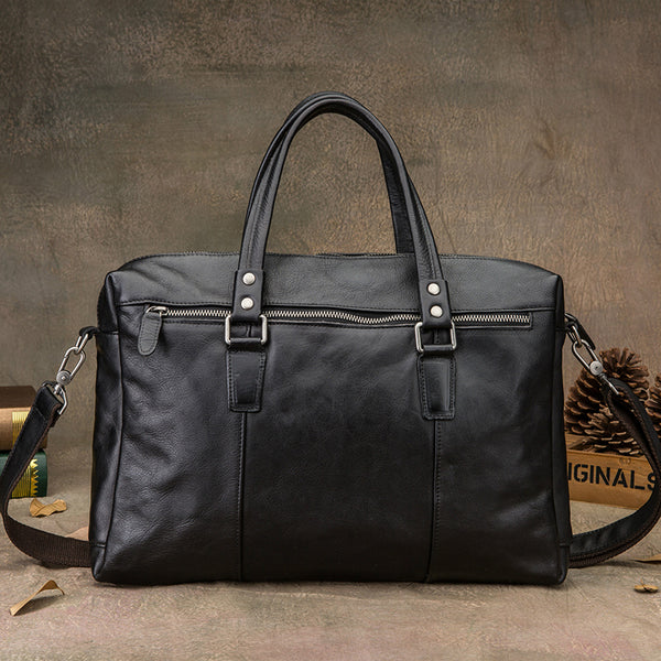 Retro Full Grain Leather Briefcase Men Tote Shoulder Laptop Bag Messenger Bag PEYB916