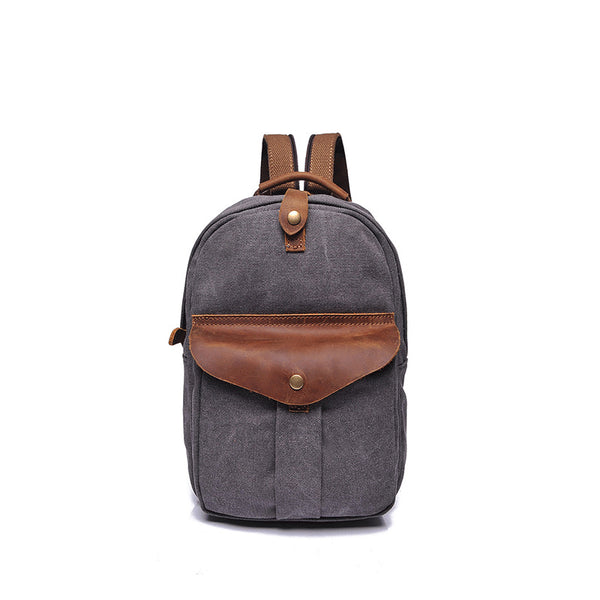Men Retro Canvas Chest Pack Leather With Canvas Shoulder Backpack Canvas Small Messenger Bag YD2231 - ROCKCOWLEATHERSTUDIO