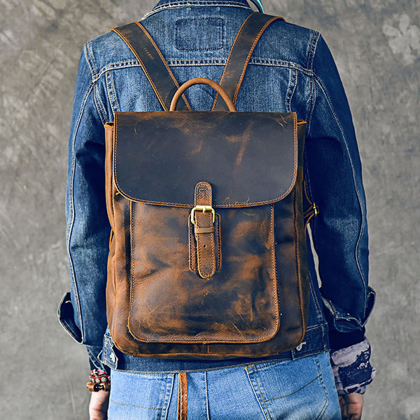 Crazy Horse Leather Backpack Handmade Men Travel Backpack Laptop Backpack ESS2986 - ROCKCOWLEATHERSTUDIO