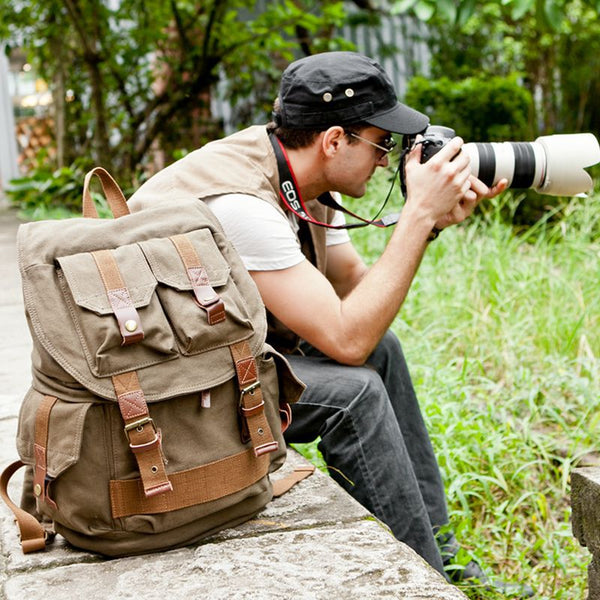 Canvas DSLR Camera Backpack Canvas Backpack Camera Backpack QSM1233 - ROCKCOWLEATHERSTUDIO