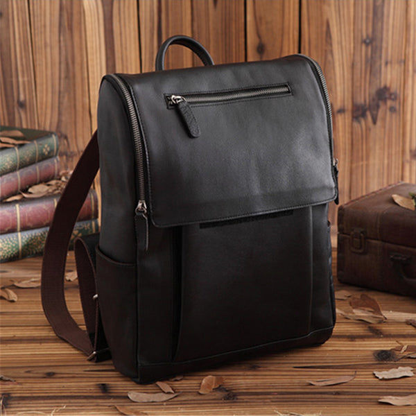 Vegetable Tanned Leather Backpack Handmade Laptop Backpack School Backpack PEY21231684 - ROCKCOWLEATHERSTUDIO