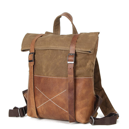 Waxed Waterproof Canvas Leather Backpack, Big Capacity Laptop Backpack, Vintage Shoulder School Bag H1008