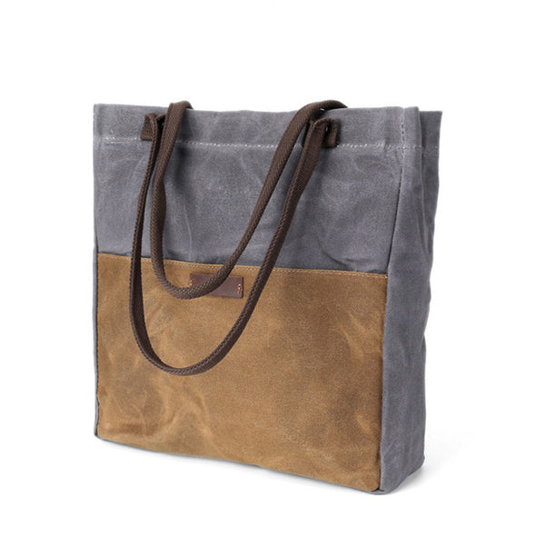 Canvas Leather Tote Bag, Women Single Shoulder Bags, Shopping Bag, Fashion Daily Handbag 2059 - ROCKCOWLEATHERSTUDIO