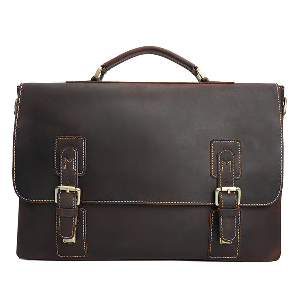 Crazy Horse Leather Men Business Tote Bag Top Grain Leather Messenger Bag Retro Men Briefcase YD8015 - ROCKCOWLEATHERSTUDIO