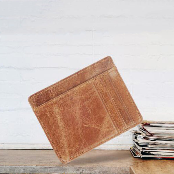 Full Grain Leather Card Holder Vintage Coin Purse Ultra Thin Wallet YD6602 - ROCKCOWLEATHERSTUDIO